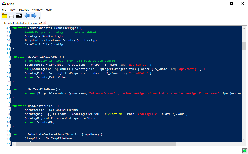 Kyktir with PowerShell file
